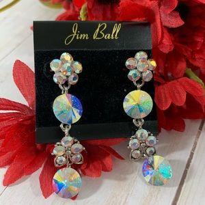 Jim Ball Iridescent Rhinestone Cascading Earrings